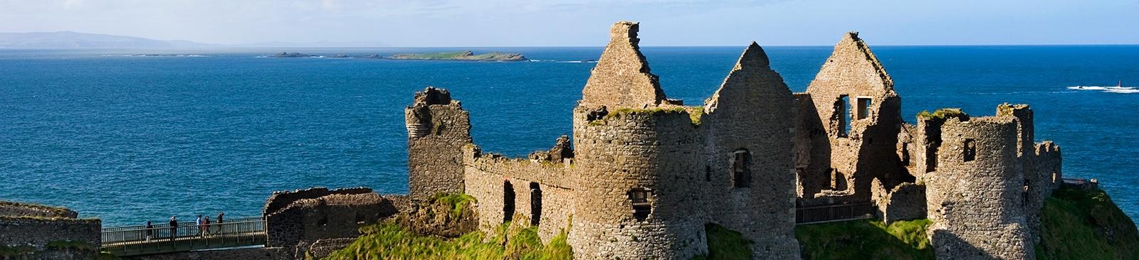 Castle ruins overlooking the ocean